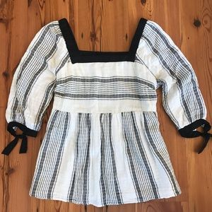 Black and White Maternity Babydoll Striped Blouse